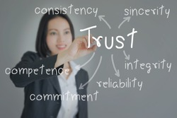 Beautiful Businesswoman writing   trust building concept. Business concept