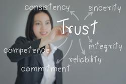 Beautiful Businesswoman writing   trust building concept. Business concept