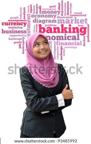 Beautiful businesswomen happy with banking info-text graphics and arrangement word clouds concept