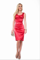 Beautiful Busyness Woman Blonde Fashion Model in red dress isolated on white