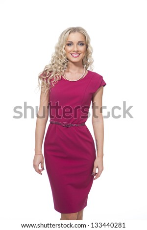 Beautiful Busyness Woman Blonde Fashion Model isolated on white
