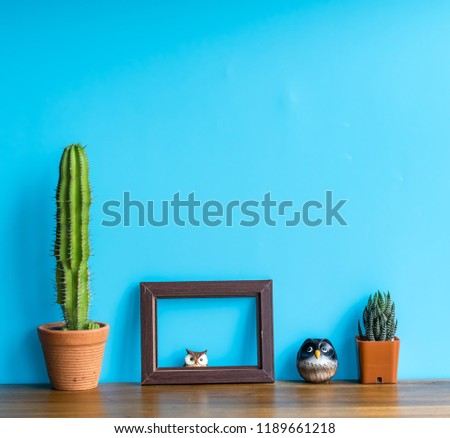 Beautiful  cactus ,  wooden  picture frame  and  simulated   owl  on  wooden  surface   with  blue  background.