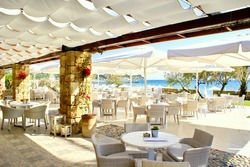 Beautiful cafeteria at the beach, Greece