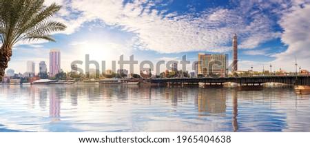 Beautiful Cairo panorama, view on the Qasr al-Nil Bridge over the Nile, Egypt Stok fotoğraf ©
