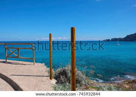 Beautiful Cala Molto Bay View, Blue Sky, Mallorca Balearic Island in Spain #745932844