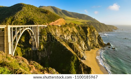 Beautiful California Coast and the Famous Bixby Creek Bridge - Big Sur, Monterey County, California