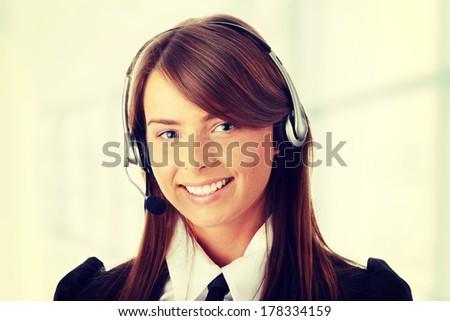 beautiful call center woman...