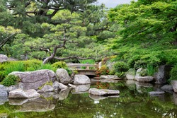 Beautiful calm scene in spring Japanese garden in Fukuoka, Japan