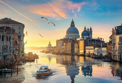 Beautiful calm sunset over Grand Canal in Venice, Italy