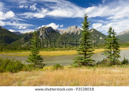 Beautiful Canadian Landscape: Swampy Lake, Rocky Mountains and Cloudy Sky. Photo is taken in Jasper National Park, Alberta, Canada