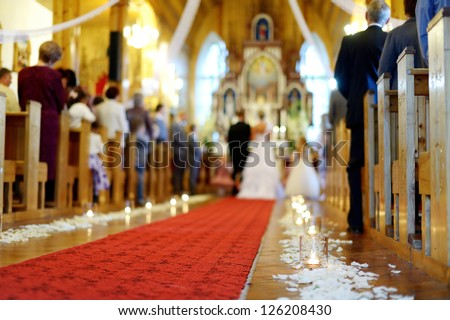Beautiful candle wedding decoration in a church
