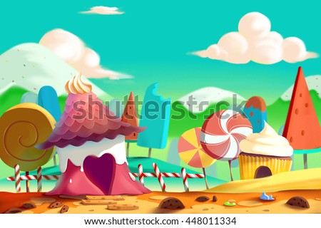 stock photo beautiful candy and cookie land with icecream mountain and house video game s digital cg artwork 448011334 - Каталог — Фотообои «Для детской»