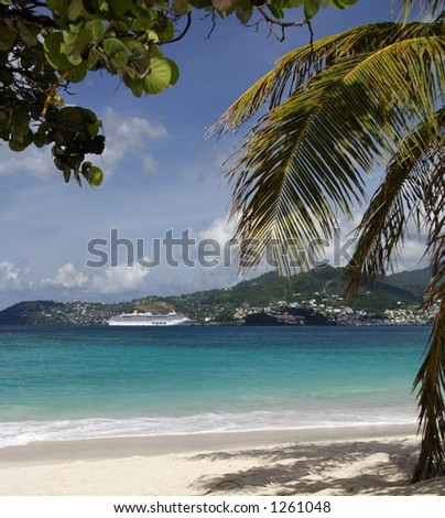 Beautiful caribbean beach with a cruiseship in the background