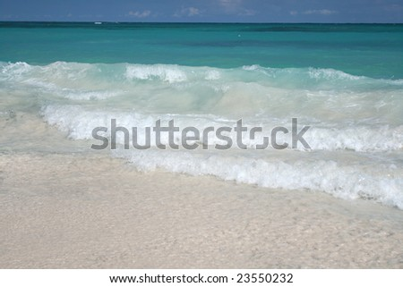 Beautiful Caribbean tropical beach with white sand and green ocean, suitable background for a variety of designs