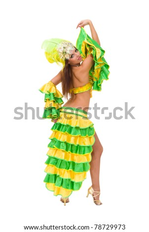 Beautiful carnival dancer posing against isolated white background