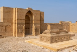Beautiful carved stone cenotaph inside the courtyard of a royal mausoleum in UNESCO listed Makli necropolis in Thatta, Sindh, Pakistan