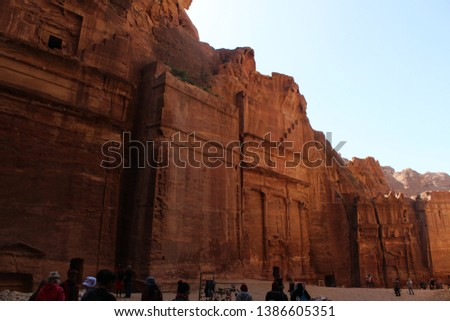 Beautiful carved tomb facades on the Street of Facades in a famous historical and archaeological city of Petra, Wadi Musa, Jordan #1386605351