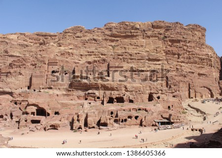 Beautiful carved tomb facades on the Street of Facades in a famous historical and archaeological city of Petra, Wadi Musa, Jordan #1386605366