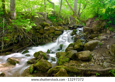 beautiful cascade waterfall in green forest