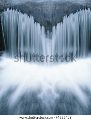Beautiful cascading waterfall over natural rocks