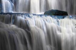 Beautiful cascading waterfall. Purakaunui waterfall, Catlins, Southland, New Zealand