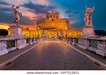 Beautiful castel sant'angelo rome italy Photo stock ©