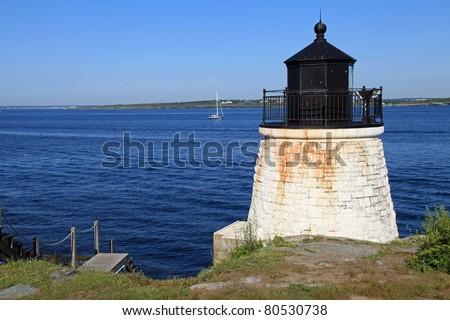 Beautiful Castle Hill lighthouse in Newport, Rhode Island overlooking the Atlantic Ocean, built in 1830