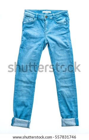 Beautiful casual jeans pants and clothes isolated on white background