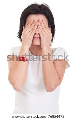 beautiful casual woman in see no evil pose (isolated on white background)