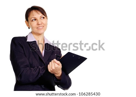 Beautiful Caucasian business female standing with staff on a white background
