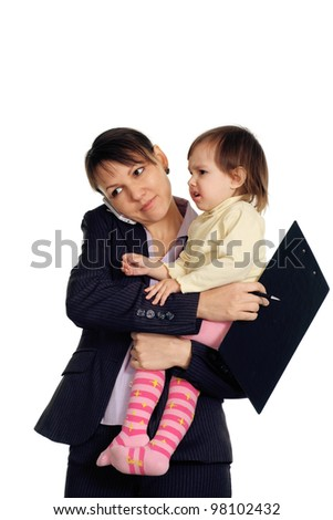 Beautiful Caucasian business woman holding her daughter in her arms on a white background - stock photo
