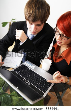 beautiful caucasian business woman with young consultant
