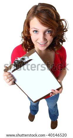 Beautiful caucasian fourteen year old girl holding clipboard over white.