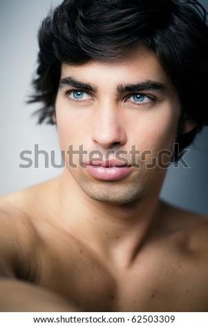 beautiful caucasian man portrait - stock photo