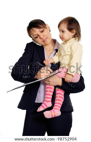 Beautiful Caucasian nice business woman holding her daughter in her arms on a white background