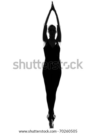 beautiful caucasian tall woman ballet dancer standing tiptoe pose  full length on studio isolated white background