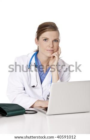 Beautiful Caucasian woman Doctor/Nurse working at a desk