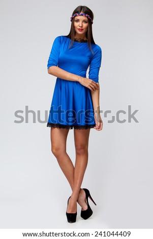 Beautiful caucasian woman on light grey background