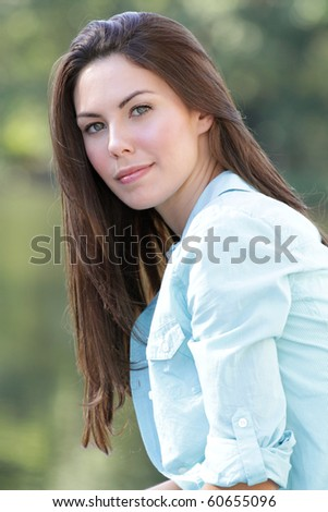Beautiful Caucasian woman outdoors, smiling, fall, seasonal portrait, autumn fashion