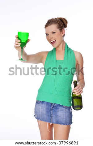 Beautiful Caucasian woman partying with a glass of Champagne