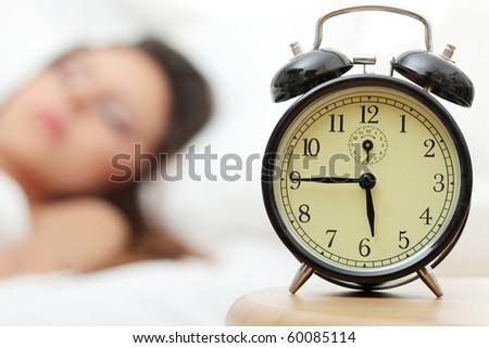 Beautiful Caucasian woman waking up in the morning.