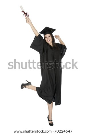 Beautiful Caucasian woman wearing a black graduation gown holding a diploma and very happy and excited isolated on a white background