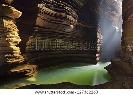 Beautiful cave with lake