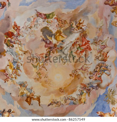 Beautiful ceiling frescos at baroque church in Steinhausen, Germany.