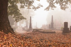 Beautiful cemetery graveyard in autumn or fall season covered in leaves and mist, fog with stone marble monument and tombstone as a romantic, sad, peace