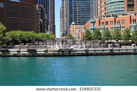 Beautiful Centennial Fountain and Water Arc on the Chicago River in downtown Chicago, Illinois, USA