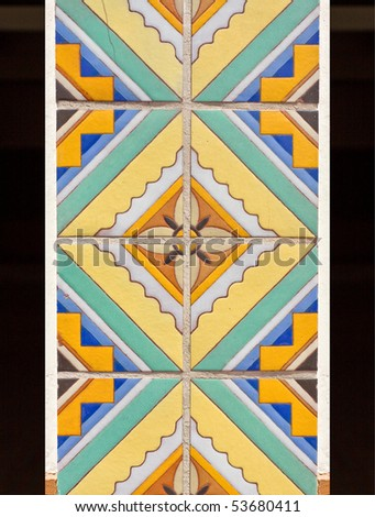 Beautiful ceramic tile mosaic with flower pattern