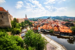 Beautiful Cesky Krumlov in the Czech Republic, with the Vltava River and the Castle and the Saint Vitus Church Dominating the City