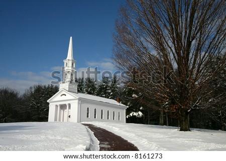 beautiful chapel in winter setting