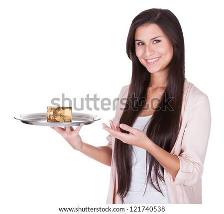 Beautiful charming woman pointing to an metal tray with credit card